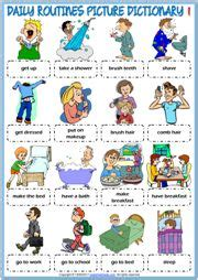 daily routines esl printable picture dictionary  kids