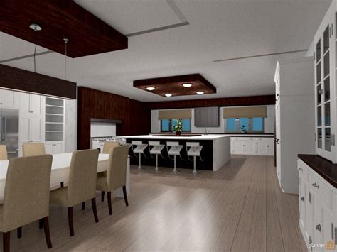 Kitchen, dining room, open plan.   House ideas   Planner 5D
