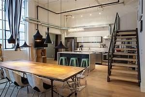 Modern industrial style kitchen design orchidlagooncom for Awesome deco maison avec poutre 6 poele a bois 60 m2