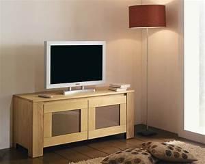 Meuble Tv Bois Massif Moderne : petit meuble tv blanc pas cher ~ Teatrodelosmanantiales.com Idées de Décoration