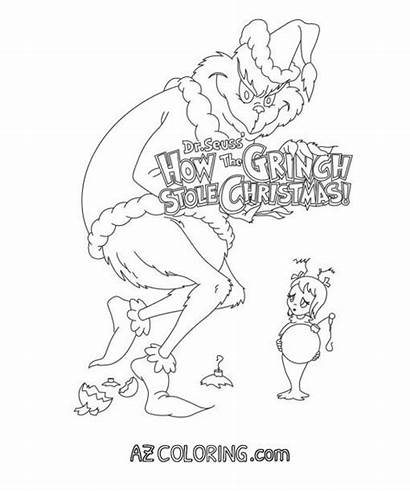 Grinch Coloring Seuss Dr Foot Printable Drawing