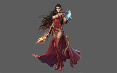 Wonder Woman Hd Wallpaper Asian Girl Fantasy Art Red Clothes Long Black Hair Sword Hand Magic Desktop Wallpaper Hd