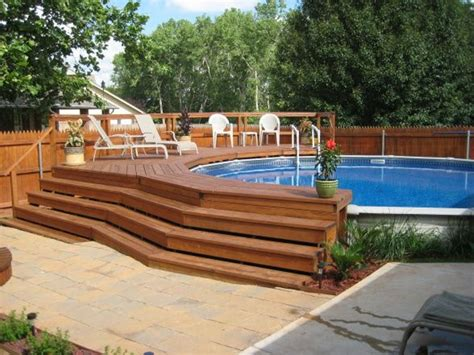 Gorgeous Ideas For Above Ground Pool Deck Plans With