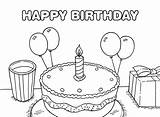 Birthday Happy Coloring Printable Cake Table sketch template