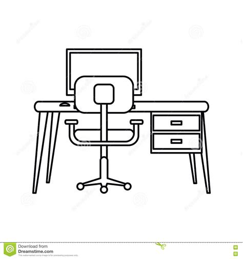 pictogramme bureau bureau moderne de fauteuil de pc de lieu de travail de
