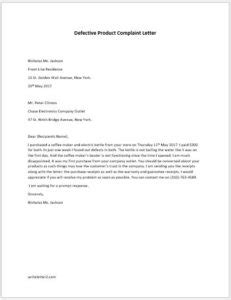 Defective Product Complaint Letter to Company