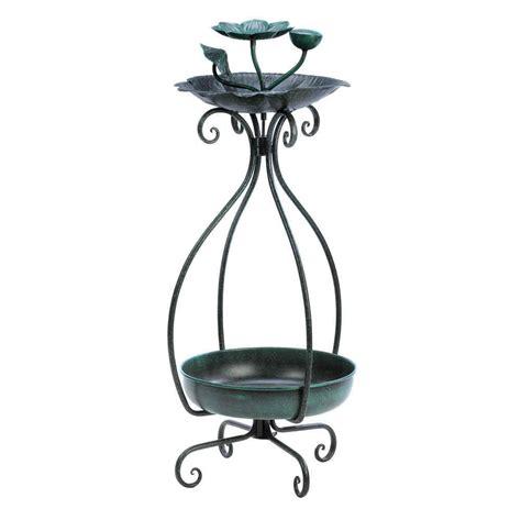 metal bird feeder and garden patio planter plant stand