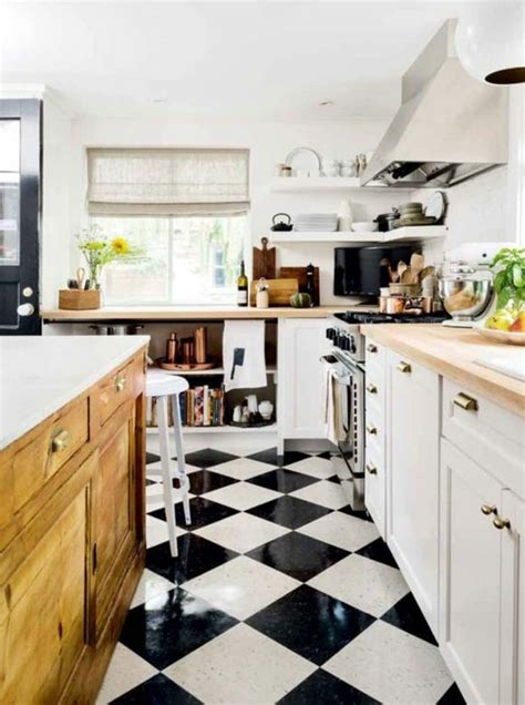 cuisine sol blanc le carrelage damier noir et blanc en 78 photos archzine fr