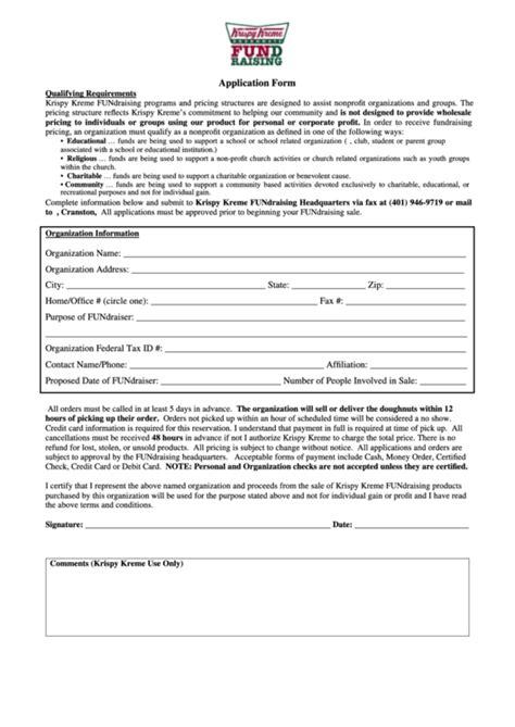 krispy kreme application form printable
