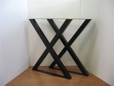 X Style Metal Table Legs Patinated Steel with by FuriousEndeavors