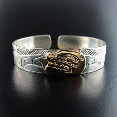 haida orca gold silver bracelet native art gallery