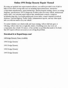 1991 Dodge Dynasty Repair Manual Online By Ericdver