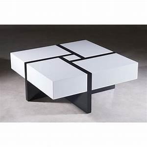 Table Basse Blanc Laqué Et Bois : table basse zaggy bois laqu noir et blanc achat vente table basse table basse zaggy bois ~ Teatrodelosmanantiales.com Idées de Décoration