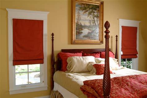 red roman shades bedroom farmhouse bedroom