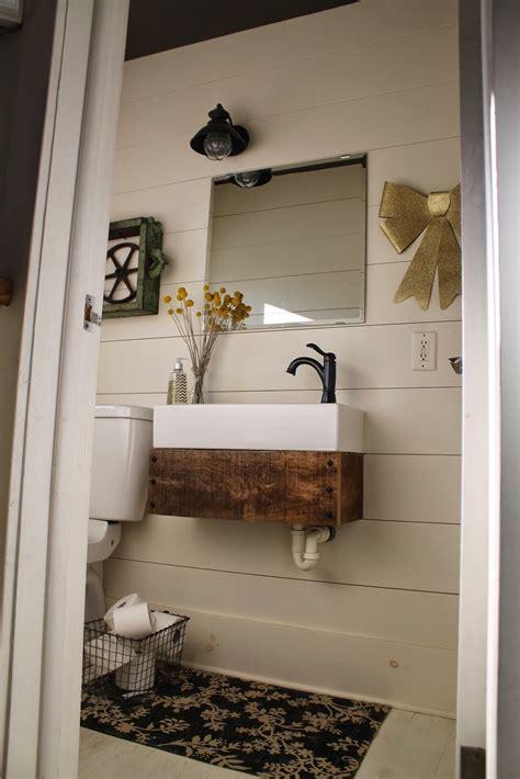 Reclaimed Vanity Bathroom by Remodelaholic Reclaimed Wood Floating Vanity