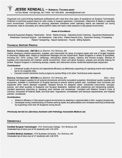 Resume Template Tech by Cover Letter For Surgical Technologist Resume Template