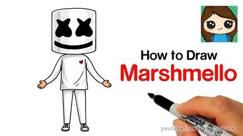 draw marshmello easy dibujos kawaii en