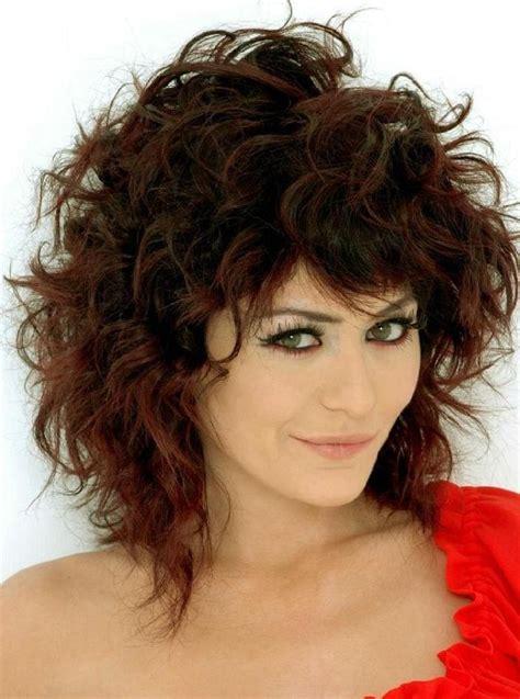 hair style idea medium length curly hairstyles with bangs