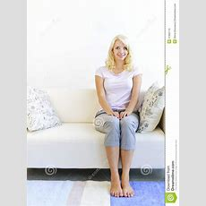 Woman Sitting In Living Room Royalty Free Stock Images