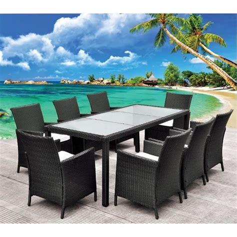 beautiful salon de jardin en salon de jardin table en résine tressée noir 8 pl achat