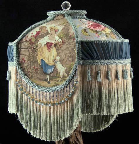 plain jane l shades victorian lamp shade fragonard blue fabric and chiffon