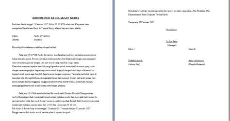 Contoh Surat Kronologis Kecelakaan Kerja contoh kronologis kejadian kecelakaan di tempat kerja