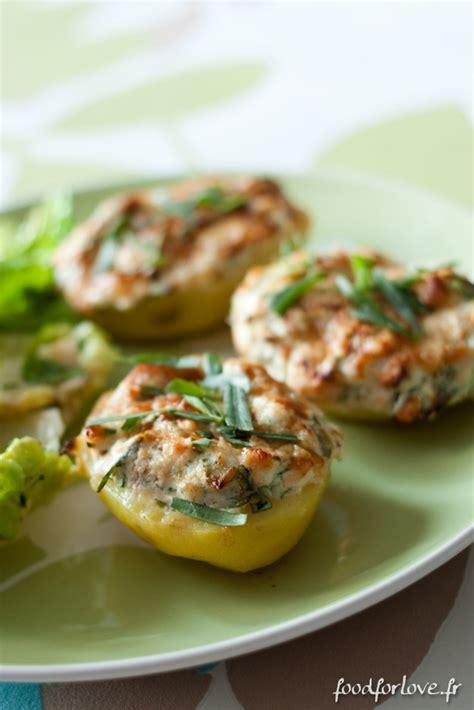 pommes de terre farcies au saumon fromage frais et