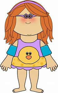 Girl Ready to Swim Clip Art - Girl Ready to Swim Image
