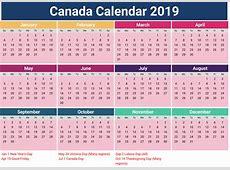 Canada Holidays 2019 Calendar Download Free Printable