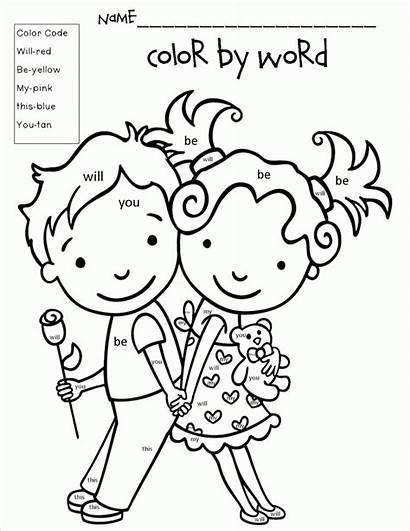 Word Valentines Valentine Coloring Number Words Kindergarten