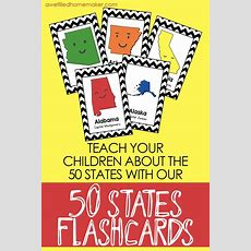 50 States Flash Cards (with Capitols)  Educate Kids  Homeschool Kindergarten, How To Memorize