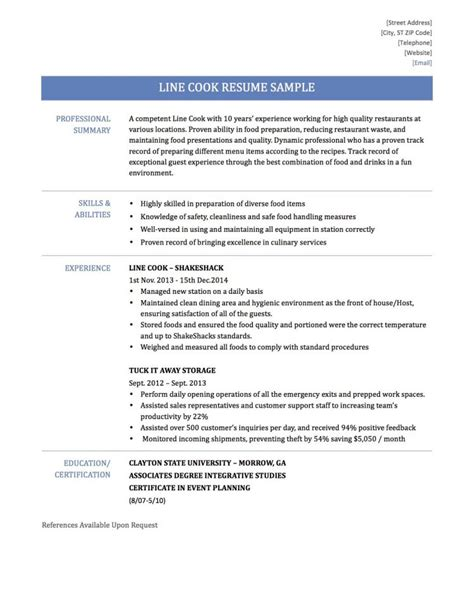 cook description sle cooking description resume