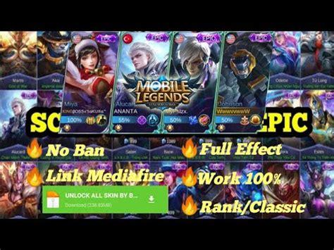 script unlock  skin epic mobile legend youtube