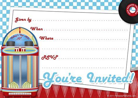 Free Printable Party Invitations: Free Printable 1950s