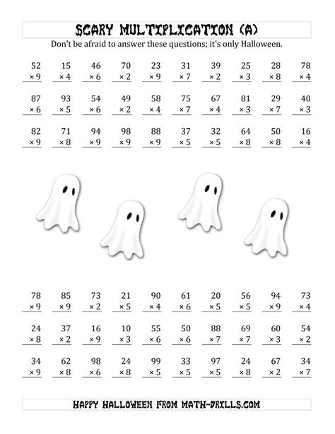 halloween multiplication worksheet scary multiplication 2 digit by 1 digit a