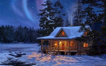 Log Wallpapers Cabins Cabin Snow Cave
