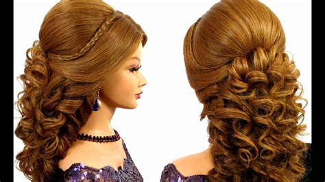 romantic bridal prom hairstyle  long hair tutorial