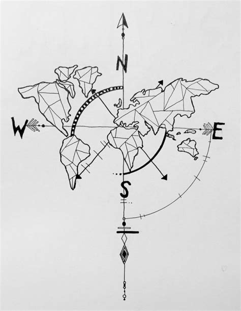 tattoo trends geometric world map compass arrow nautical