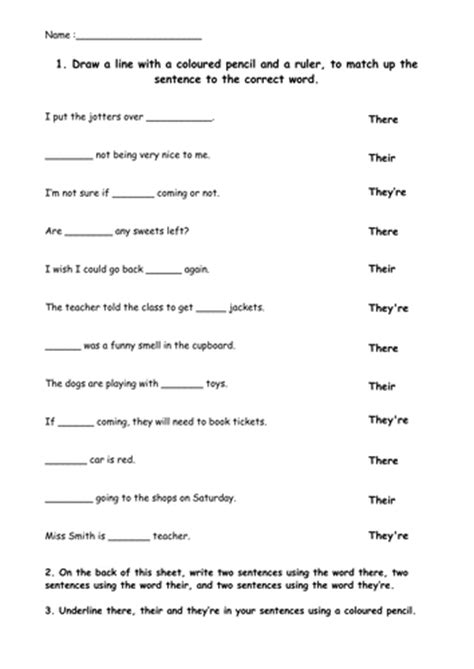 There, Their And They're Worksheet By Evmajor14  Teaching Resources