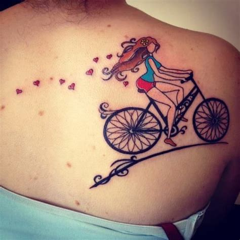Lovely Women Hair Bicycle Tattoo Back