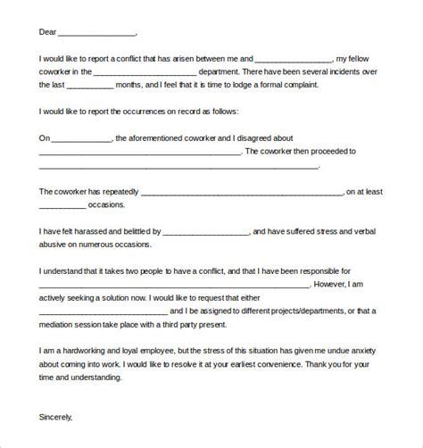 write  formal complaint letter   coworker
