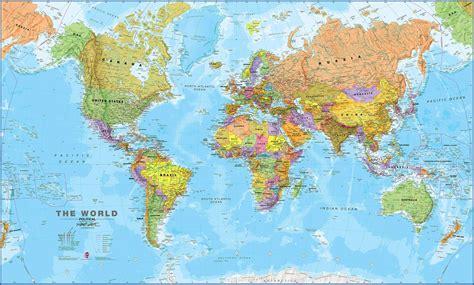 large world political map world wall map