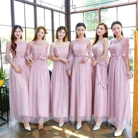 jual dress bridesmaid slim pink gaun maxi korea longdress