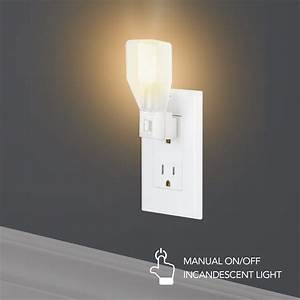 Globe Electric White Manual On  Off Incandescent Night
