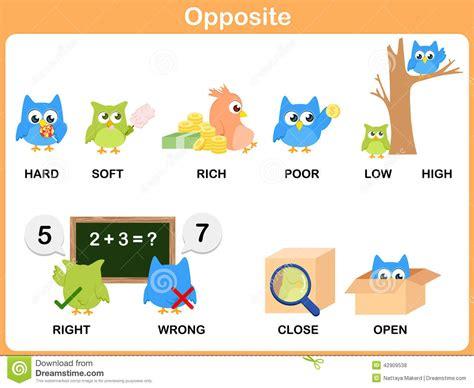 Opposite Word For Preschool Stock Vector  Illustration Of Wrong, Hard 42909538