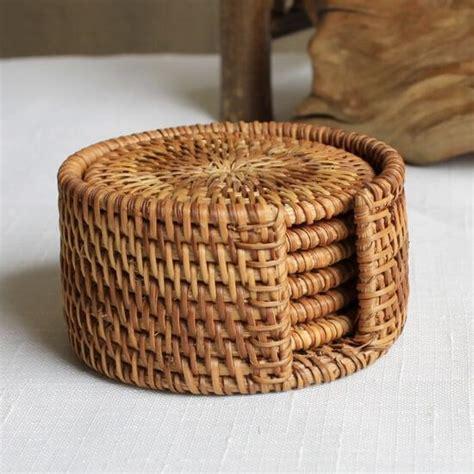 rattan cup coasters set pot pad table mat  sizes porta