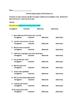 sentence types subjects  predicates quiz