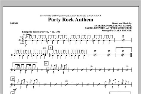 party rock anthem drums sheet music direct