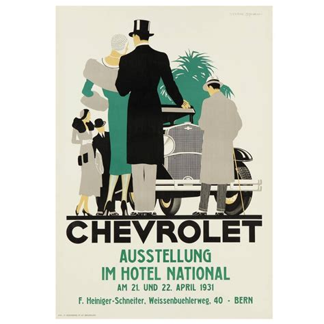 deco poster deco chevrolet advertising poster for sale at 1stdibs