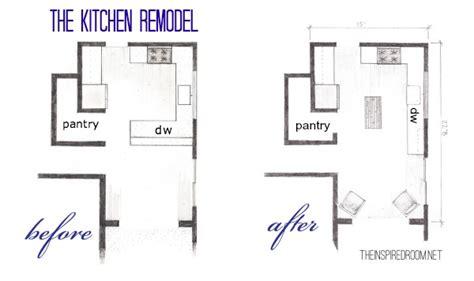 kitchen renovation floor plans the kitchen floor plans before after bird s eye sketch 5575